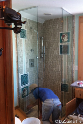 DuQuella Tile bathroom work in progress for Bath Crashers Arts and Crafts Bathroom episode