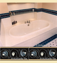Art deco ceramic bathroom tile installation using a pattern developed from samples supplied from the client