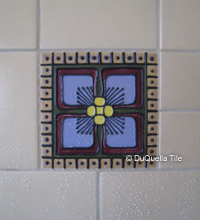 Art deco ceramic square tile design 5076 in a bathroom installation